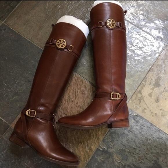 8661ecedf72f Tory Burch Almond Calista Riding Boot. M 5a61b9f02ae12fe57d7978fe